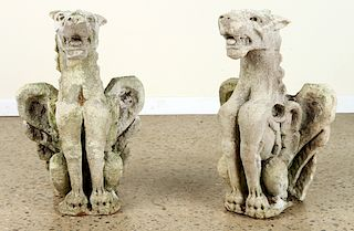 PAIR VICENZA STONE WINGED GRIFFIN STATUES 1920