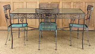 5 PC WROUGHT IRON GARDEN PATIO SET 4 CHAIRS TABLE