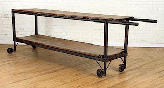 ANTIQUE WOOD & IRON 2 TIER POTTITNG TABLE WHEELS