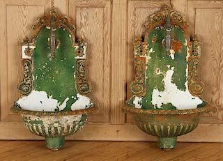 PAIR WALL MOUNTED CAST IRON FOUNTAINS C.1900