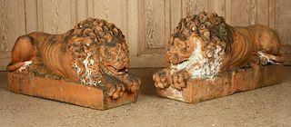 PAIR 19TH CENTURY TERRACOTTA GARDEN STATUES LIONS