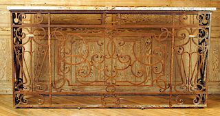 LARGE MARBLE TOP IRON CONSOLE TABLE 1910