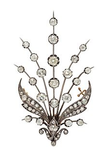 A Victorian Silver Topped Yellow Gold and Diamond Aigrette Element Brooch, 10.40 dwts.