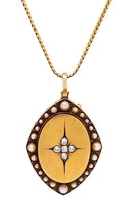 A Victorian Yellow Gold, Diamond and Pearl Pendant/Brooch, 24.40 dwts.