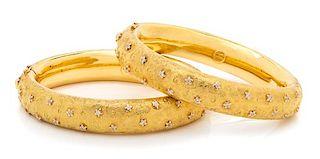 A Pair of 18 Karat Yellow Gold and Diamond Bangle Bracelets, Vendorafa, 50.50 dwts.