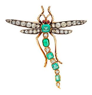 An Antique Yellow Gold, Silver, Diamond, Emerald and Glass Dragonfly Brooch, 5.80 dwts.