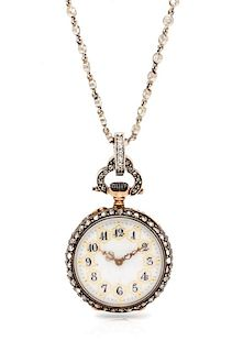 A Victorian Silver Topped Gold and Diamond Pendant Watch with Platinum and Diamond Longchain Necklace, 22.40 dwts.