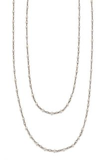 A Platinum, Diamond and Pearl Station Necklace, Morelle Davidson, 8.50 dwts.
