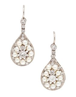 A Pair of Platinum, Rose Gold, Diamond and Cultured Pearl Earrings, 4.60 dwts.