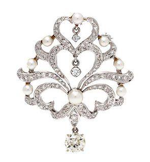 A White Gold, Diamond and Cultured Pearl Pendant/Brooch, 8.40 dwts.