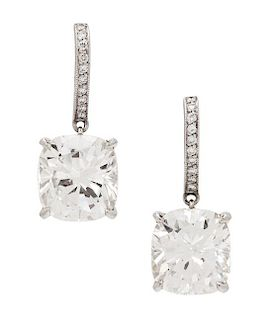 A Pair of Platinum and Diamond Drop Earrings, 5.20 dwts.