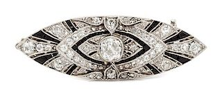 An Art Deco Platinum, White Gold, Diamond and Onyx Double Clip Brooch/Pendant, 15.10 dwts.