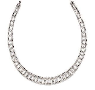 An 18 Karat White Gold and Diamond Collar Necklace, Italian, 36.30 dwts.