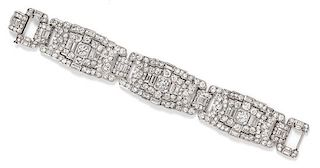 A Platinum and Diamond Bracelet, French, 47.90 dwts.