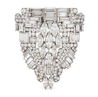 An Art Deco Platinum and Diamond Clip Brooch, 17.00 dwts.