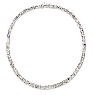 A Platinum and Diamond Necklace, 55.90 dwts.