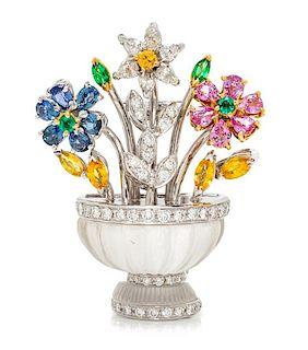 An 18 Karat Bicolor Gold, Diamond, Sapphire, Emerald and Rock Crystal 'Giardinetti' Brooch, Italian, 14.40 dwts.