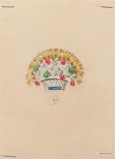 A Collection of Original Gouache on Paper Jewelry Designs for Trabert & Hoeffer,
