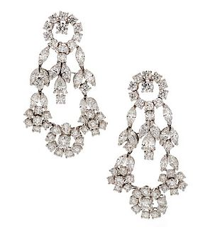 A Pair of 18 Karat White Gold and Diamond Earclips, Italian, 12.90 dwts.
