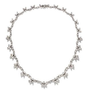An 18 Karat White Gold and Diamond Necklace, Italian, 22.80 dwts.