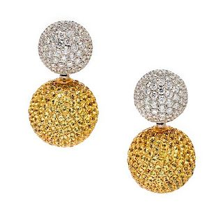 A Pair of Bicolor Gold, Diamond and Yellow Sapphire Convertible Earrings,