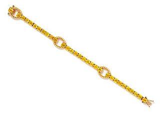 An 18 Karat Yellow Gold, Yellow Sapphire and Diamond Bracelet, Hasbani, 12.20 dwts.