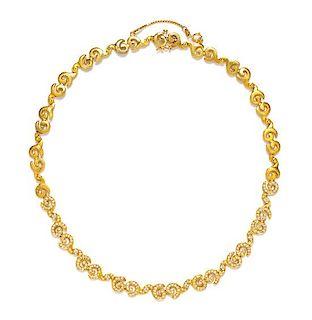 An 18 Karat Yellow Gold and Diamond 'Escargot' Necklace, Doris Panos, Circa 2000, 24.20 dwts.
