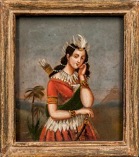 Oil on Tin Painting Depicting an Indian Woman