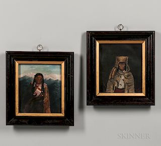 Pair of Paintings Depicting Plateau Indians
