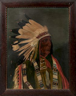 Oil on Board Portrait of an Indian Chief