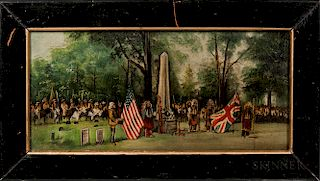 Oil on Canvas Painting of Buffalo Bill at a Memorial