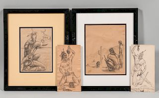 Four Drawings Depicting Apache Warriors