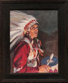 Oil on Canvasboard Portrait of a Plains Indian Drummer