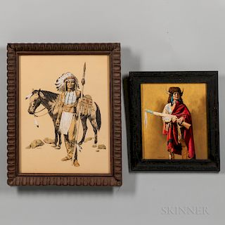 Two Paintings Depicting American Indians by Stanley Borack