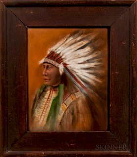 Painting Depicting an Indian Chief on Porcelain Tile