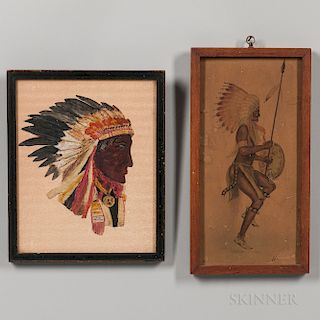 Two Watercolors Depicting American Indians