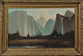 Landscape Painting The Bridal Veil Falls Yosemite