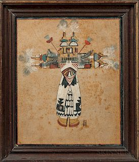 Drawing of a Hopi Shalako Katsina by Gene Hodge