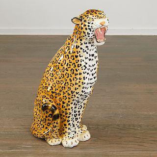 Large vintage Italian majolica leopard