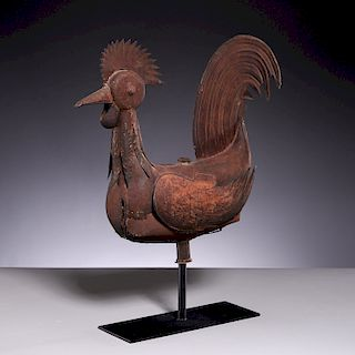 Large French tin rooster weathervane or shop sign