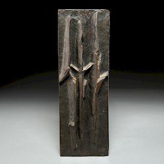 """Modernist bronze vented plaque signed """"JvH"""""""