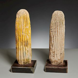 (2) cast cement cactus models on stands