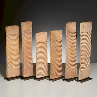 Sculptural grouping (6) antique Tribal washboards