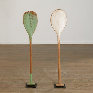 Sculptural group (2) rustic antique paddles