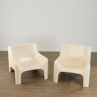 Carlo Bartoli, pair Gaia lounge chairs