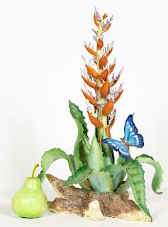Boehm Limited Edition Butterfly & Red Yucca Cactus
