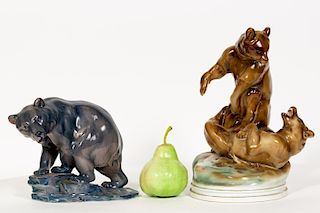 Group, Two Continental Bear Porcelain Figurines