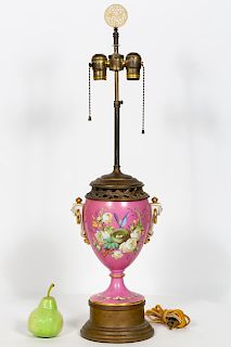 19th C. Pink Porcelain Urn Mounted as a Table Lamp