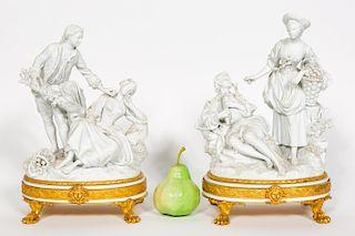 Pair, White Bisque & Gilt Bronze Figural Groups