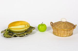 Two Sarreguemines Majolica Pieces, Basket & Melon